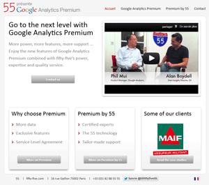 capture d'écran du site de l'offre Google Anlaytics Premium de l'agence 55