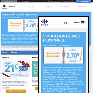 montage du thème du site Carrefour Banque