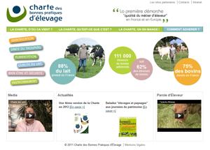 capture d'écran du site de la Charte des Bonnes Pratiques d'Elevage