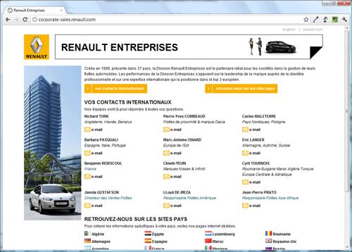 Capture d'écran de la page Renault Entreprises