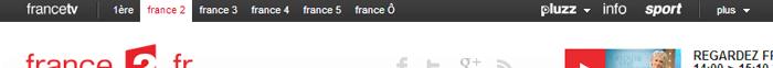 barre de navigation muti-sites chez France Télévisions