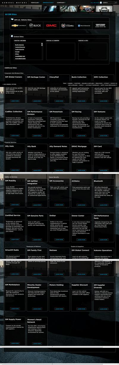 """Capture d'écran de la page """"tous les sites web"""" de General Motoros"""