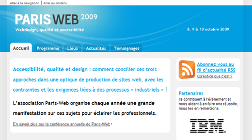 page d'accueil et introduction du site de Paris-Web