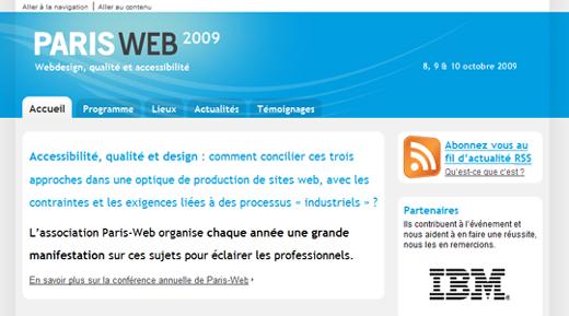 page d'accueil et introduction du site de Paris-Web